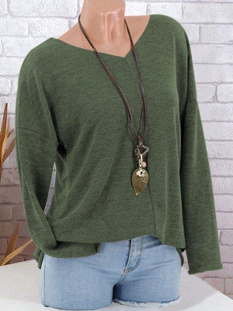 Solid Elegant V neck Cotton Plus Size Blouse