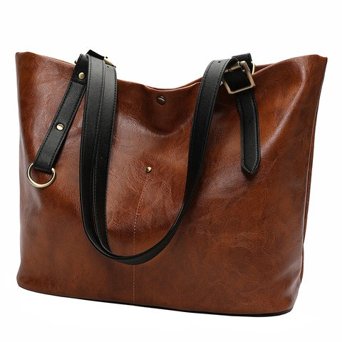 Women's Casual High Capacity Oil Leather Zipper PU Shoulder Bags