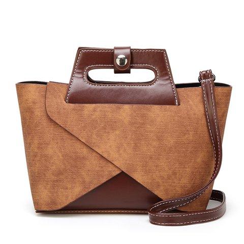 2PCS Women's Vintage Casual Zipper PU Handbags Shoulder Bags