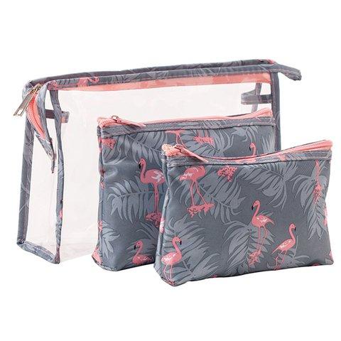 3PCS Printed Travel Casual PVC Zipper Cosmetic Storage Bags