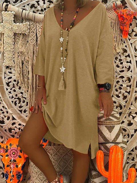 V-Neck  Shift Women Daily Cotton Casual Fall Dress