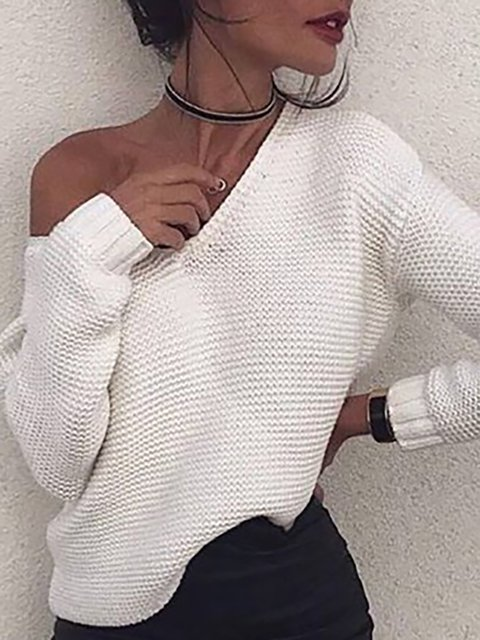 White Wool blend Paneled Casual V neck Sweater
