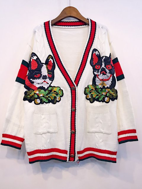 Buttoned Knitted blend Wool Embroidered Cardigan Winter Animal zqAFaRqI
