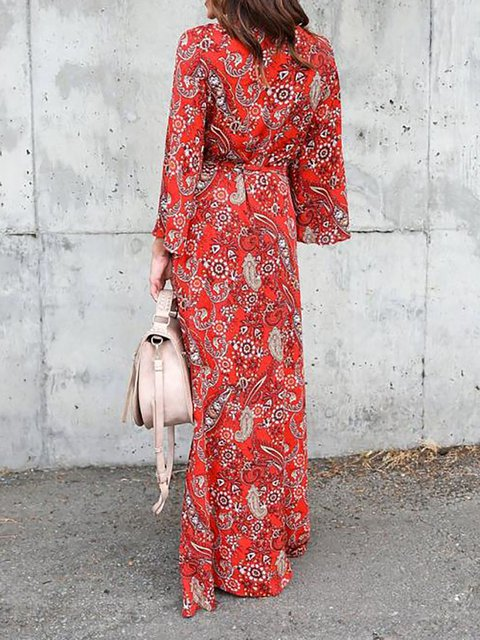 Paneled Casual Floral Red neck Shift Fall Long V Chiffon Daily Sleeve Women Dress fXzBnWFxvW