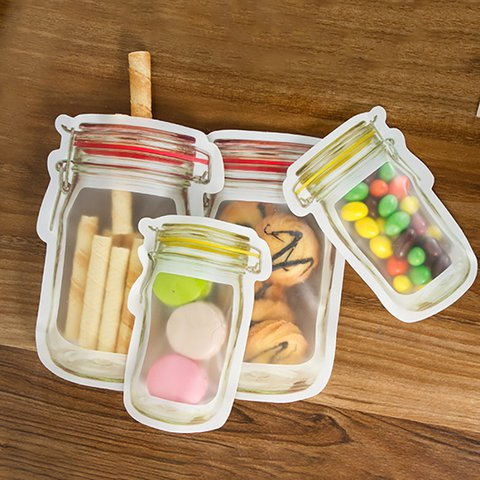3PCS/4PCS Cute Bottle-shape Snacks Food Sealed Storage Bags