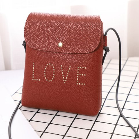 Women's Cute Love Mini Phone Purse PU Crossbody Bags