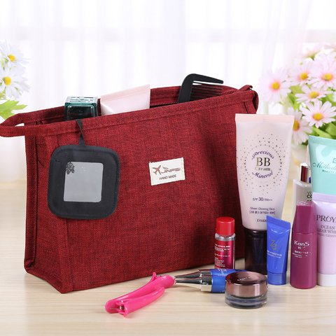 Women's Pure Color Canvas Travel Cosmetic Storage Bags with Mirror