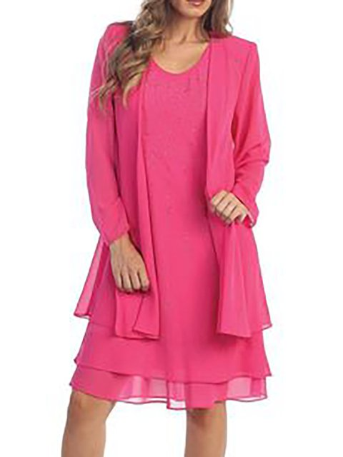 V neck  Shift Women Daily Casual Long Sleeve Chiffon Solid Spring Dress