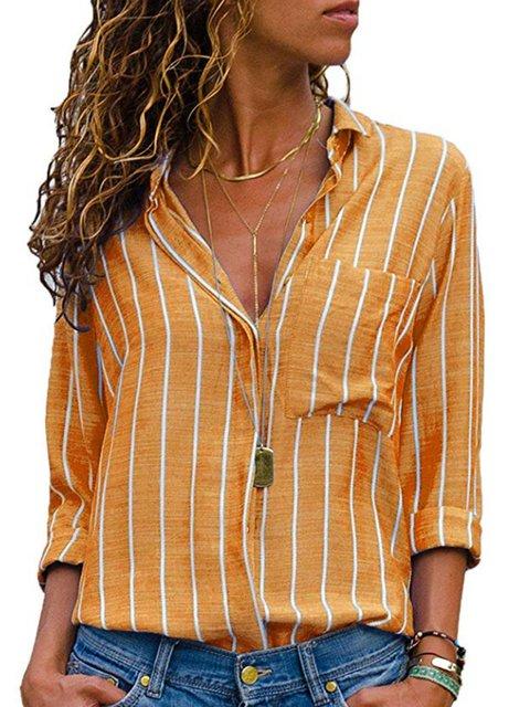Shirt Collar Long Sleeve Striped Plus Size Printed/Dyed Shirt