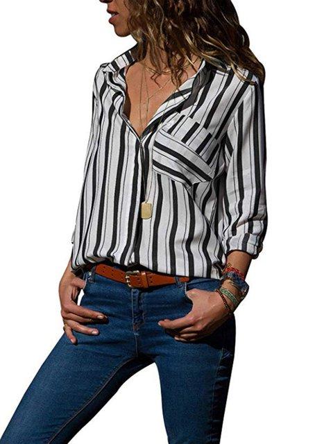 Collar Dyed Striped Shirt Printed Cotton Casual Shirt daXwqwBZ