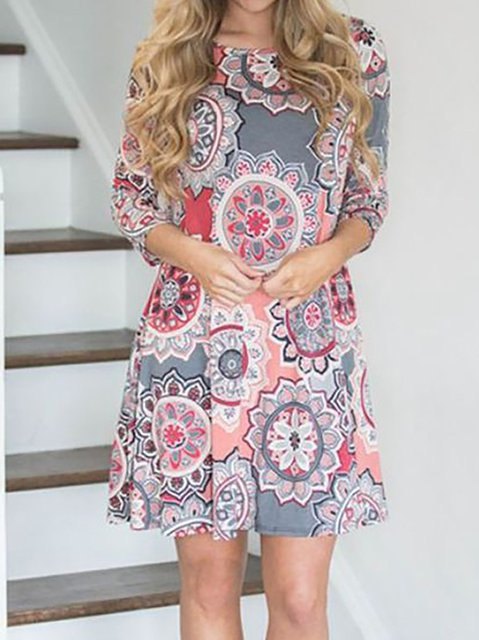 A-line Women Daily Long Sleeve Cotton Paneled Floral Casual Dress