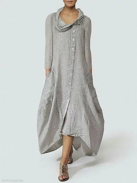 Cowl Neck Gray Cocoon Women Long Sleeve Basic Paneled Solid Casual Dress