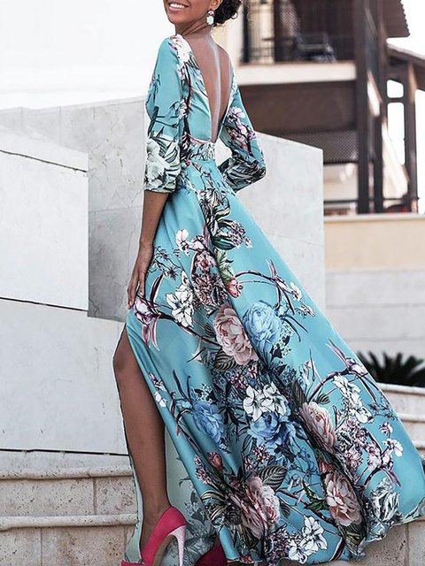 Sleeve Half Casual Floral Swing Women Cotton Prom Blue Dress Prom blend WxYn4pqTxw