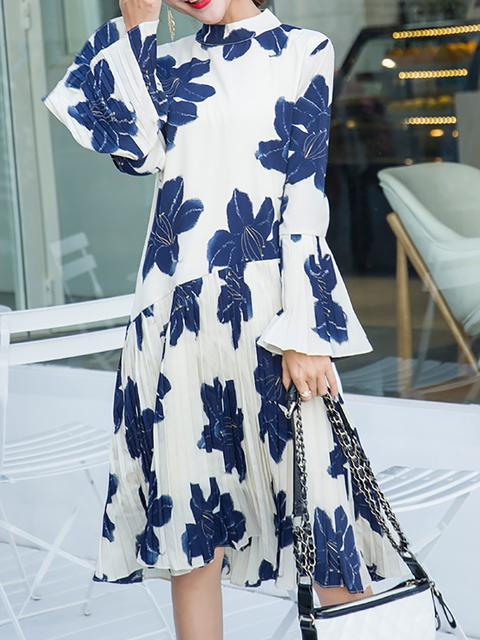 Floral Turtleneck Women Casual Blue Dress Elegant Frill Sleeve Swing Daily ar0qaH