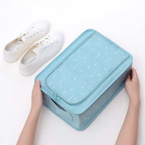 Travel Waterproof Shoes Clothes Cosmetic Printed Polyester Zipper Storage Bags