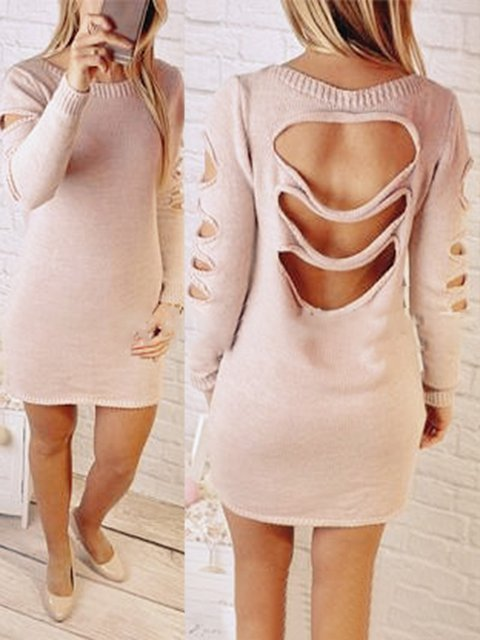 Sheath Casual Sleeve Knitted Solid Fall Daily Long Cutout Dress Women rfwUrqgT