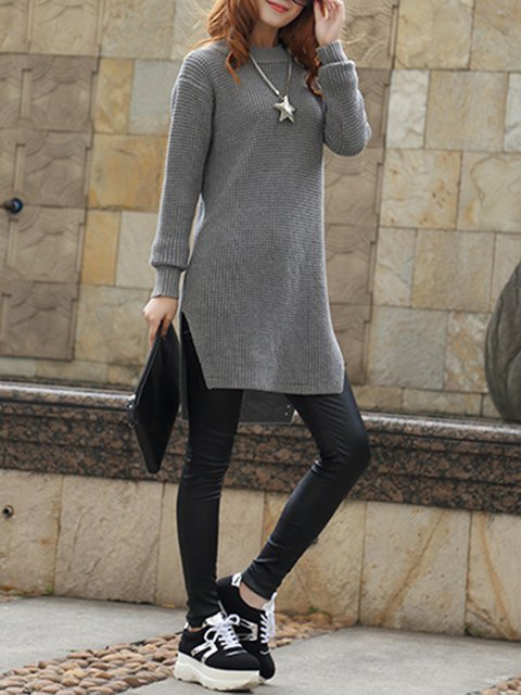 Sheath Knitted Dress Turtle Sleeve Casual Solid Women Neck Daily Long xZxwqHC