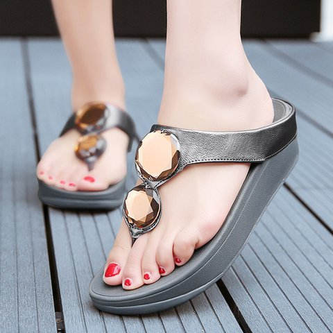 fc12928b2 Women PU Rhinestone Slippers Casual Comfort Flip Flop Shoes ...