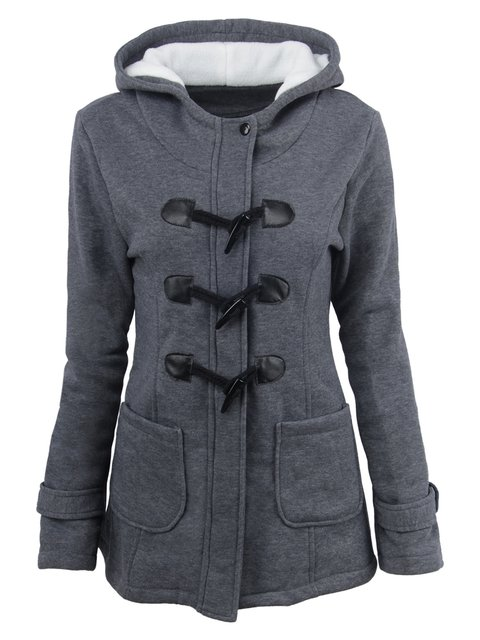 Paneled Casual Solid Hoodie Winter Plus Size Coats