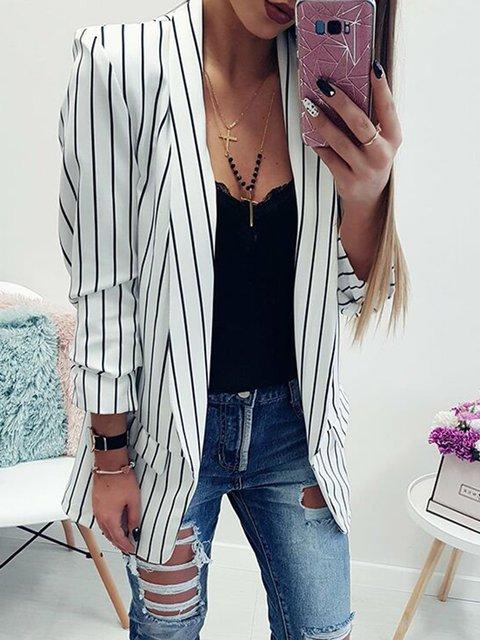 Paneled Elegant Striped Pockets Winter Long Sleeve Blazer