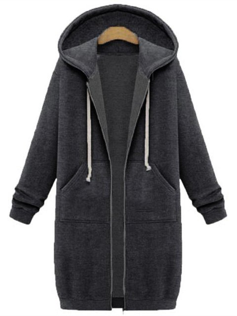 Gray Hoodie Pockets Casual Nylon Coat