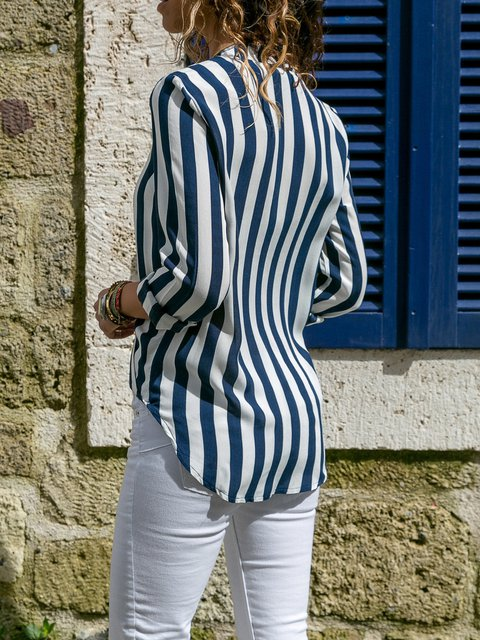 Sleeve Long Paneled Elegant Cotton V Blouse Striped Neck xWqYBAcw8X