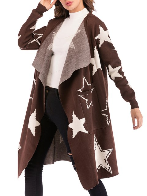 Pockets Casual Winter Collar Cardigan Shawl Geometric Coffee cE7TdWd