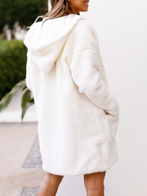Solid Cardigan Cotton Casual Knitted Slit Winter White ExfqYCaa