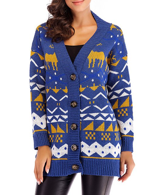 Winter Cardigan Wool Intarsia Casual blend Knitted Animal 6xw7Wp