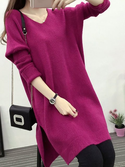 Women Daily Long Sleeve Basic Paneled Solid Casual Dress