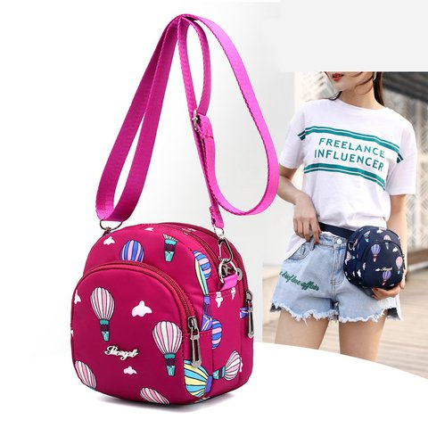 Women's Round Waterproof Zipper Nylon Crossbody Bags