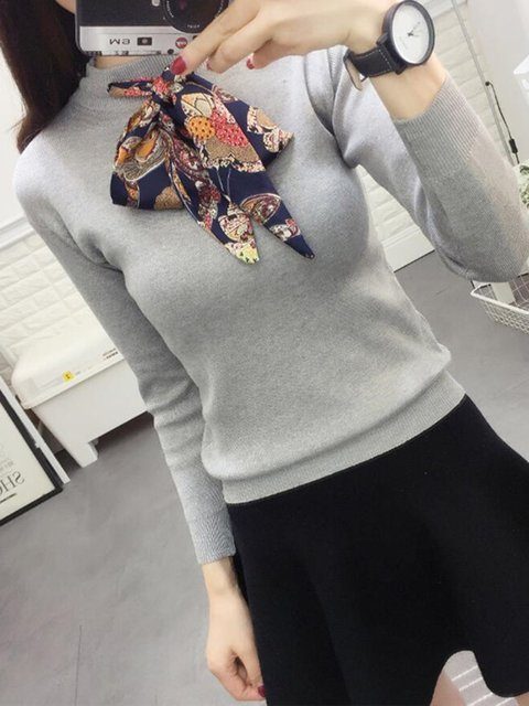 Bowknot Round Collar Long Sleeves Knit Sweaters