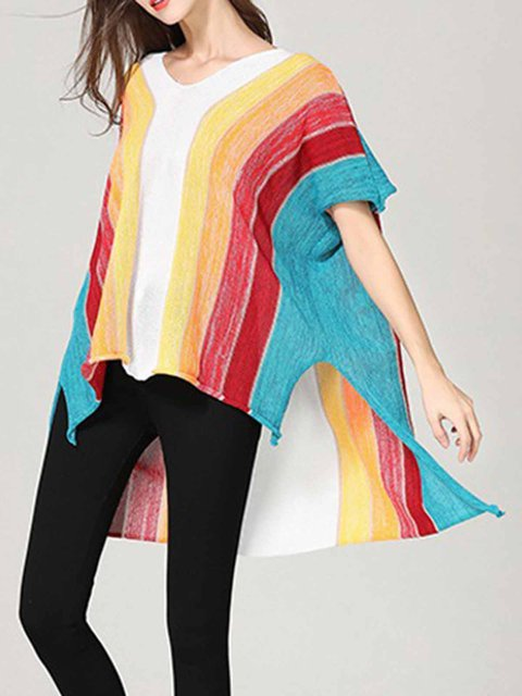 Batwing V Sleeves Sweaters necked Asymmetric Striped Rainbow q1F7nwCxT
