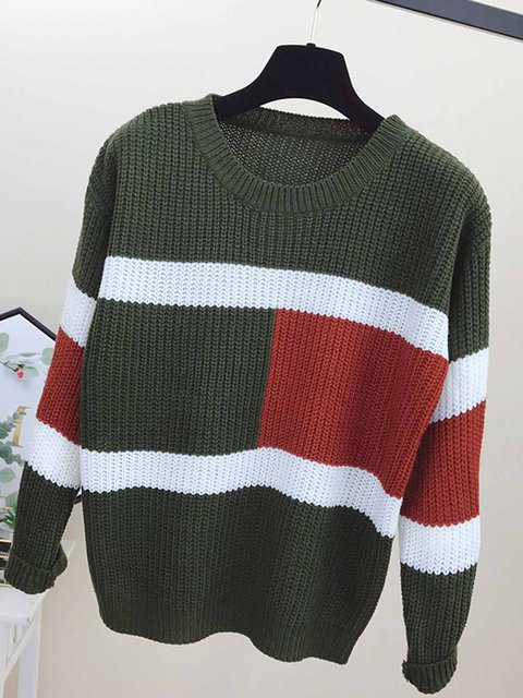 Color-stitched Round Collar Long-sleeved Knitted Sweaters