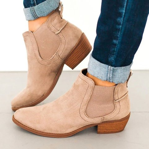 Women Flocking Slip On Booties Casual Comfort Plus Size Shoes