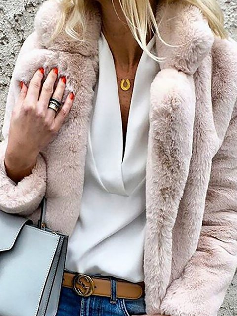 Faux Fur Elegant Plus Size Winter Shawl Teddy Bear Coats