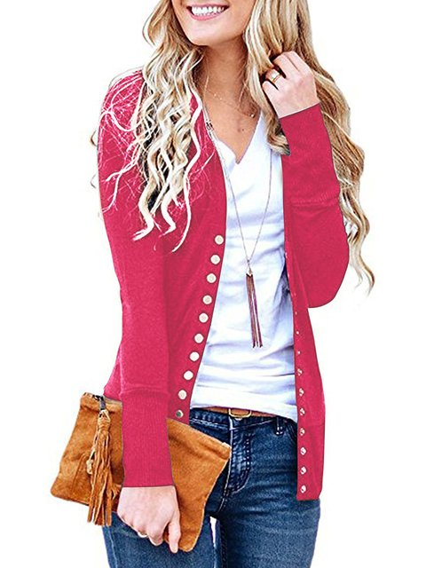 Elegant Paneled Cotton Buttoned Solid Cardigan