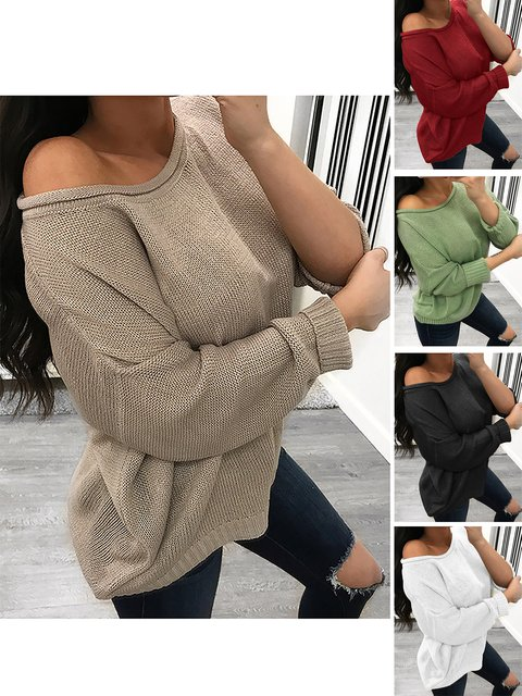 Casual Round Neck Cotton Winter Plus Size Solid Sweater
