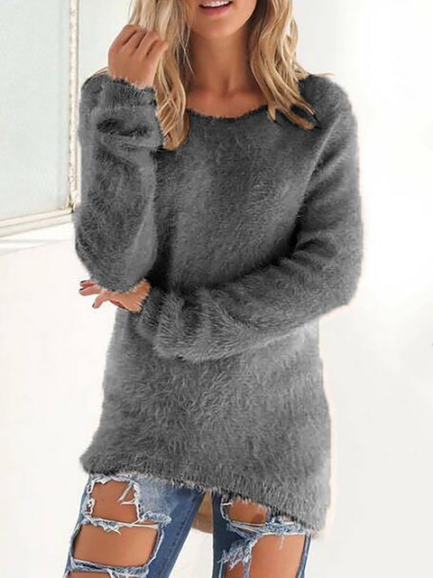Casual Paneled Crew Neck Knitted Winter Plus Size Sweater