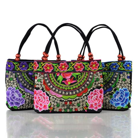 YUNNAN Flower Embroidery Small Canvas Zipper Shoulder Bags