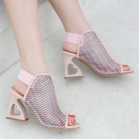 Women Peep Toe Hollow Out Heart Pattern Heeled Pumps Casual Shoes