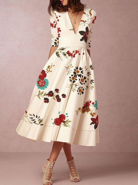 Women Daily Half Sleeve Basic Paneled Floral Elegant Dress
