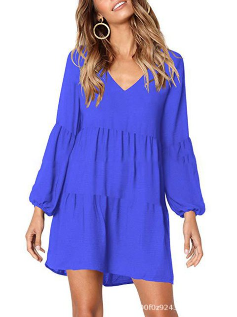 V neck  Shift Women Daily Balloon Sleeve Casual Paneled Solid Spring Dress