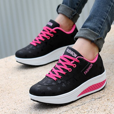 Women Lace Up Sneakers Casual Comfort Plus Size Shoes