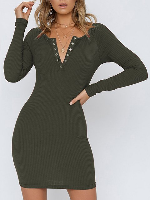 V neck  Women Daily Casual Cotton Long Sleeve Buttoned Spring Dress