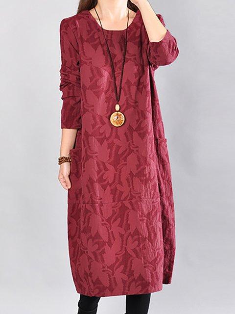 shift Women Daily Long Sleeve Basic Cotton Casual Dress