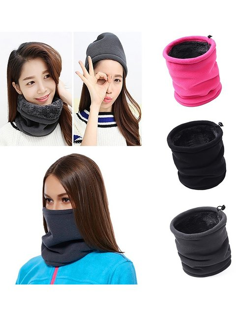 Men Women Multifunctional Thermal Warm Fleece Snood Scarf Neck Warmer Beanie Scarves