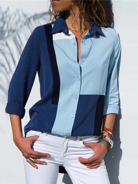Blue Elegant Color-block Plus Size Cotton Chiffon Shirt Collar Shirt