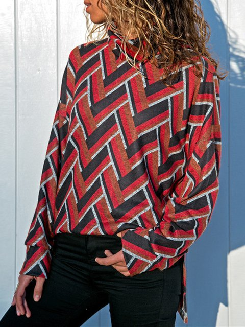 Casual Turtle Neck Paneled Geometric Knitted Blouse