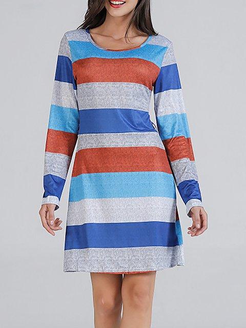JustFashionNow Crew Neck Blue Women Casual Dress Shift Dress Long ... 3a548f622